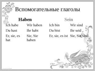 Вспомогательные глаголы Haben Sein Ichhabe Wirhaben Du hast Ihrhabt Er,sie,es