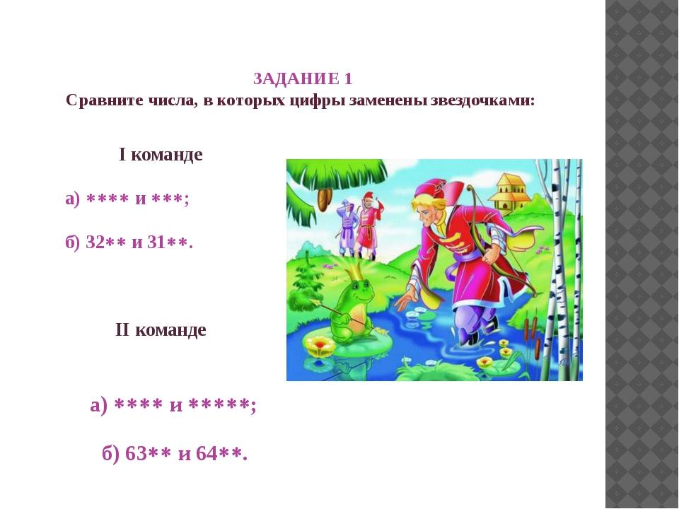 ЗАДАНИЕ 1 Сравните числа, в которых цифры заменены звездочками: I команде а...
