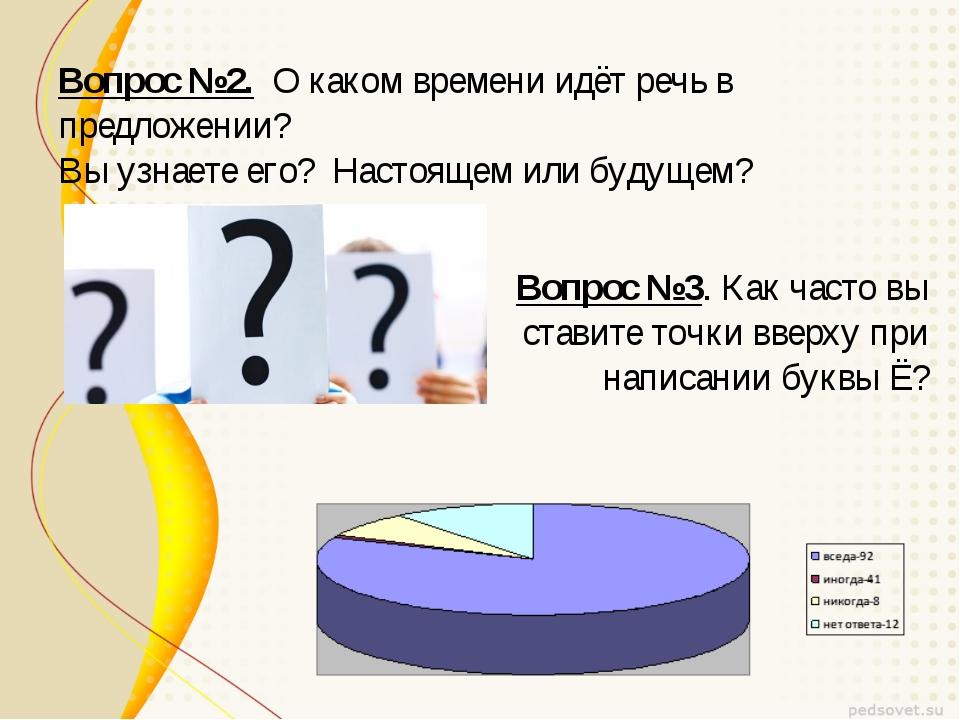 Вопрос №2. О каком времени идёт речь в предложении? Вы узнаете его? Настоящем...