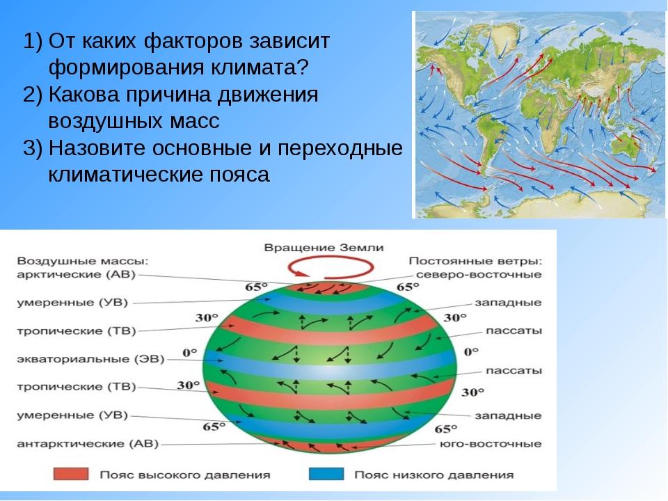 От каких факторов зависит формирования климата? Какова причина движения возду...