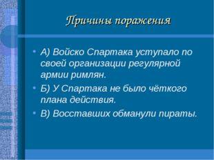 Причины поражения А) Войско Спартака уступало по своей организации регулярной