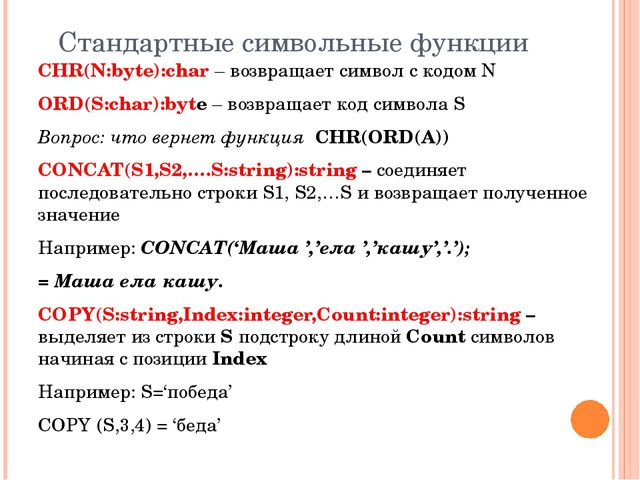 Стандартные символьные функции CHR(N:byte):char – возвращает символ с кодом N...