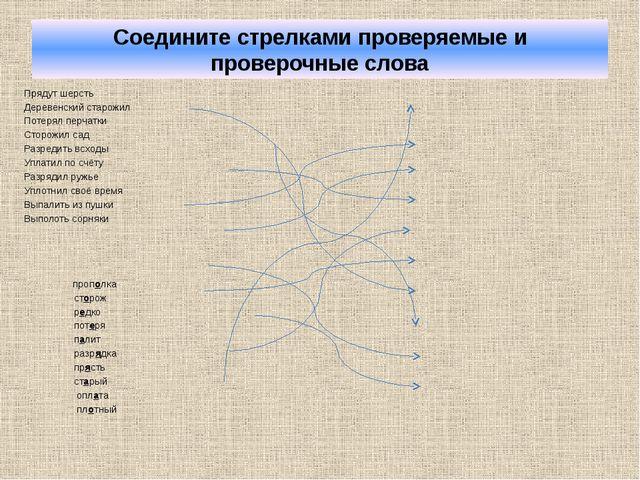 Соедините стрелками проверяемые и проверочные слова Прядут шерсть Деревенский...