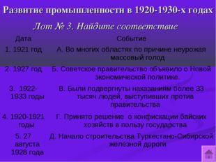 Развитие промышленности в 1920-1930-х годах Лот № 3. Найдите соответствие