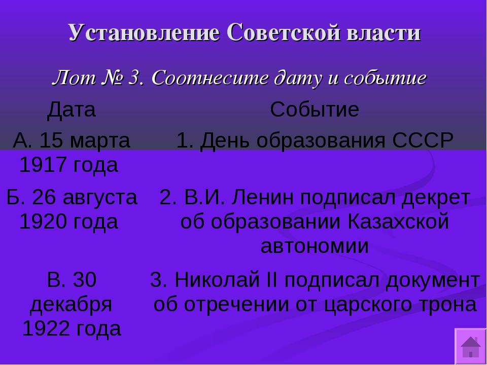 Установление Советской власти Лот № 3. Соотнесите дату и событие