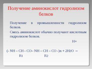 Получение аминокислот гидролизом белков Получение в промышленности гидролизом