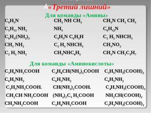 РАПЗИНК А«Третий лишний» Для команды «Аминокислоты» Для команды «Амины» С6Н5N