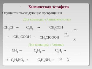 Химическая эстафета CH3Cl → C2H6 → CH3COH → CH3-COOH → →  CH4 → C2H2 → C6H6