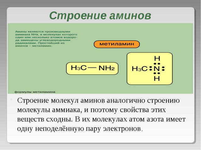 Строение аминов Строение молекул аминов аналогично строению молекулы аммиака,...