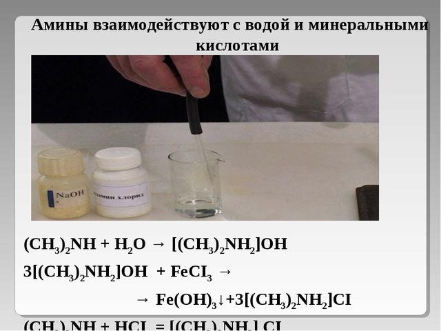 Амины взаимодействуют с водой и минеральными кислотами (СН3)2NH + H2O → [(СН3...