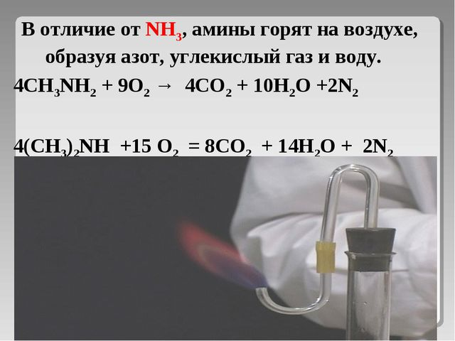 В отличие от NH3, амины горят на воздухе, образуя азот, углекислый газ и воду...