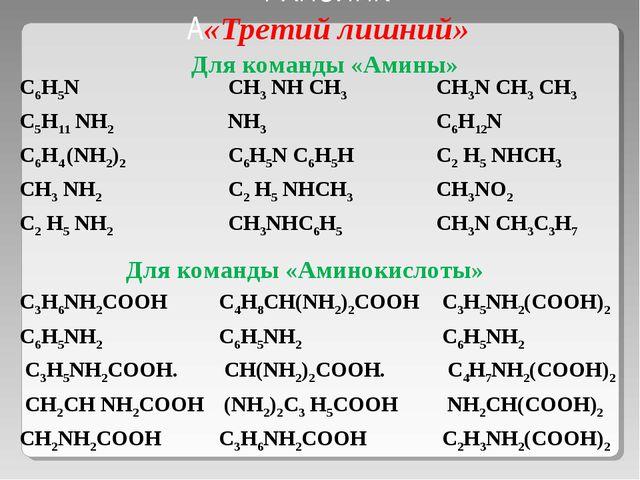 РАПЗИНК А«Третий лишний» Для команды «Аминокислоты» Для команды «Амины» С6Н5N...