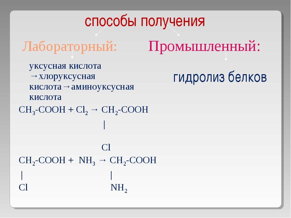 Лабораторный:  уксусная кислота →хлоруксусная кислота→аминоуксусная кислота...