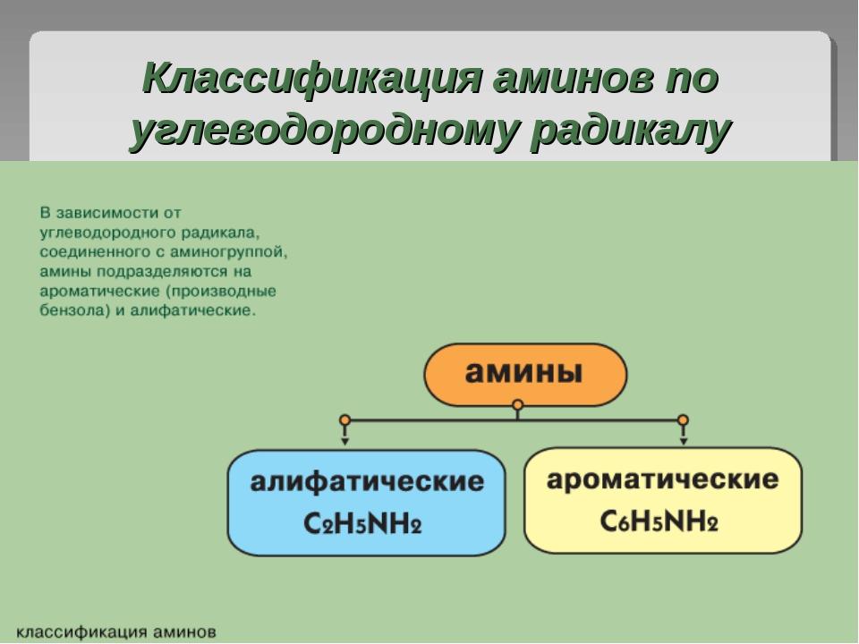 Классификация аминов по углеводородному радикалу