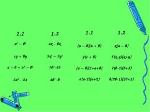 1.11.2 а2 – в2ах - вх су + ву5х2 – 5у2 а – в + а2 – в27в2-63 6а2 - 244в3