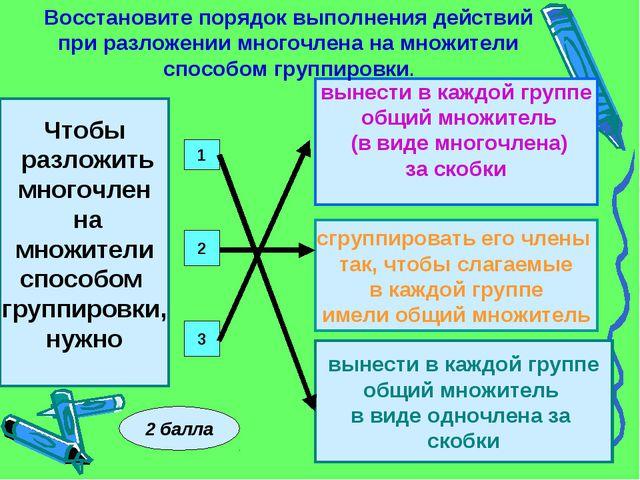 Чтобы разложить многочлен на множители способом группировки, нужно 1 2 3 вын...