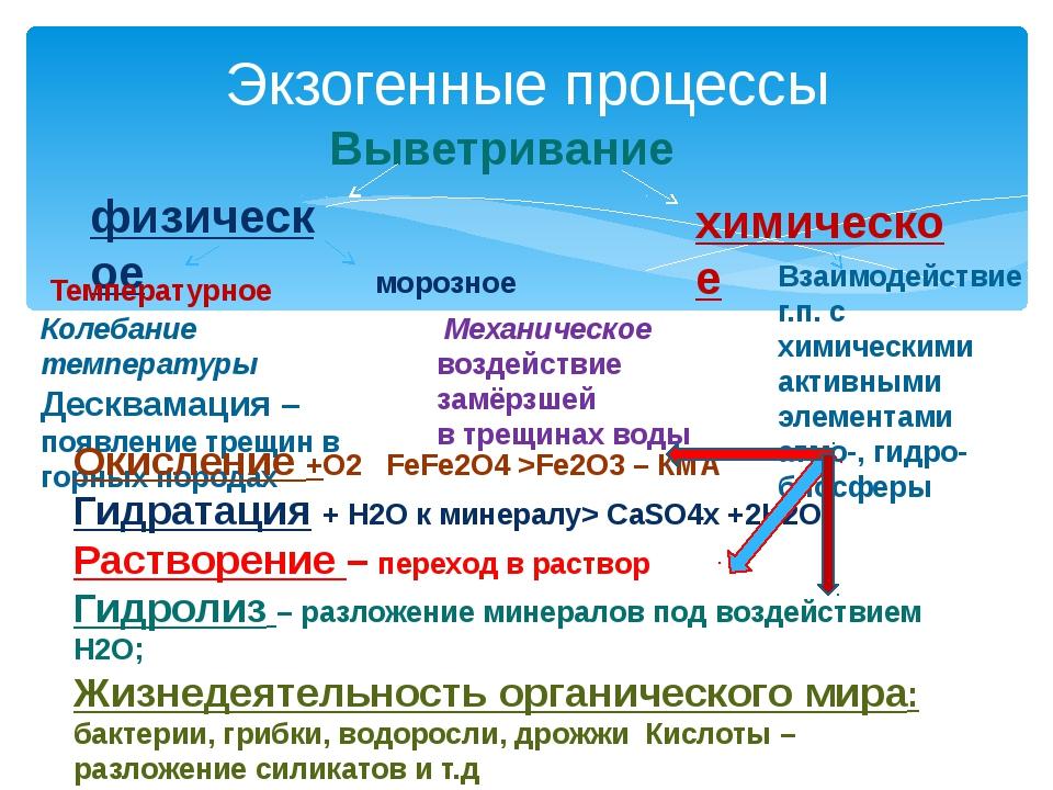 Экзогенные процессы Выветривание физическое химическое Температурное морозное...