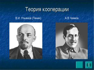 Теория кооперации В.И. Ульянов (Ленин) А.В.Чаянов