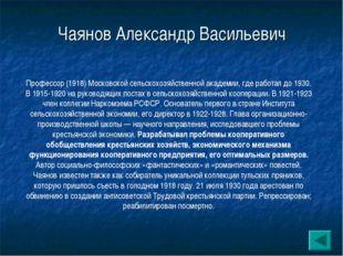 Чаянов Александр Васильевич Профессор (1918) Московской сельскохозяйственной