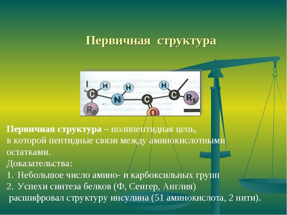 Первичная структура Первичная структура – полипептидная цепь, в которой пепти...