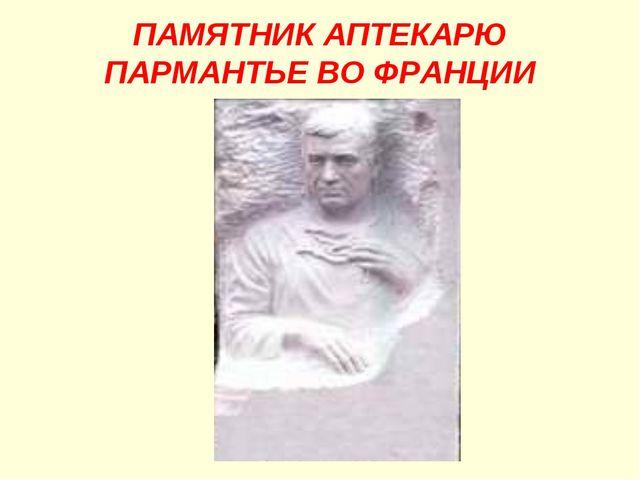 ПАМЯТНИК АПТЕКАРЮ ПАРМАНТЬЕ ВО ФРАНЦИИ