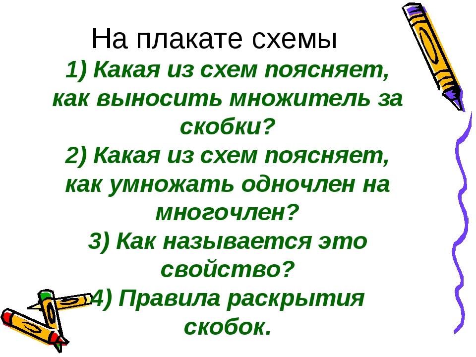 На плакате схемы 1) Какая из схем поясняет, как выносить множитель за скобки?...