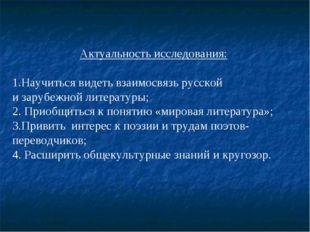 Актуальность исследования: 1.Научиться видеть взаимосвязь русской и зарубежн