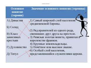Установите соответствие Основноепонятие (термин) Значениеосновного понятия (