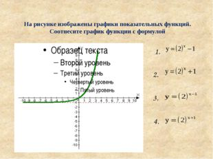 На рисунке изображены графики показательных функций. Соотнесите график функци