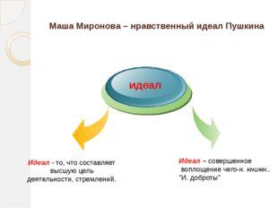 Маша Миронова – нравственный идеал Пушкина Идеал – совершенное воплощение чег
