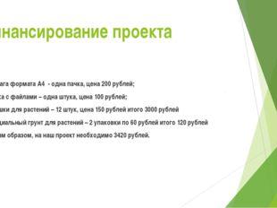 Финансирование проекта Бумага формата А4 - одна пачка, цена 200 рублей; папка