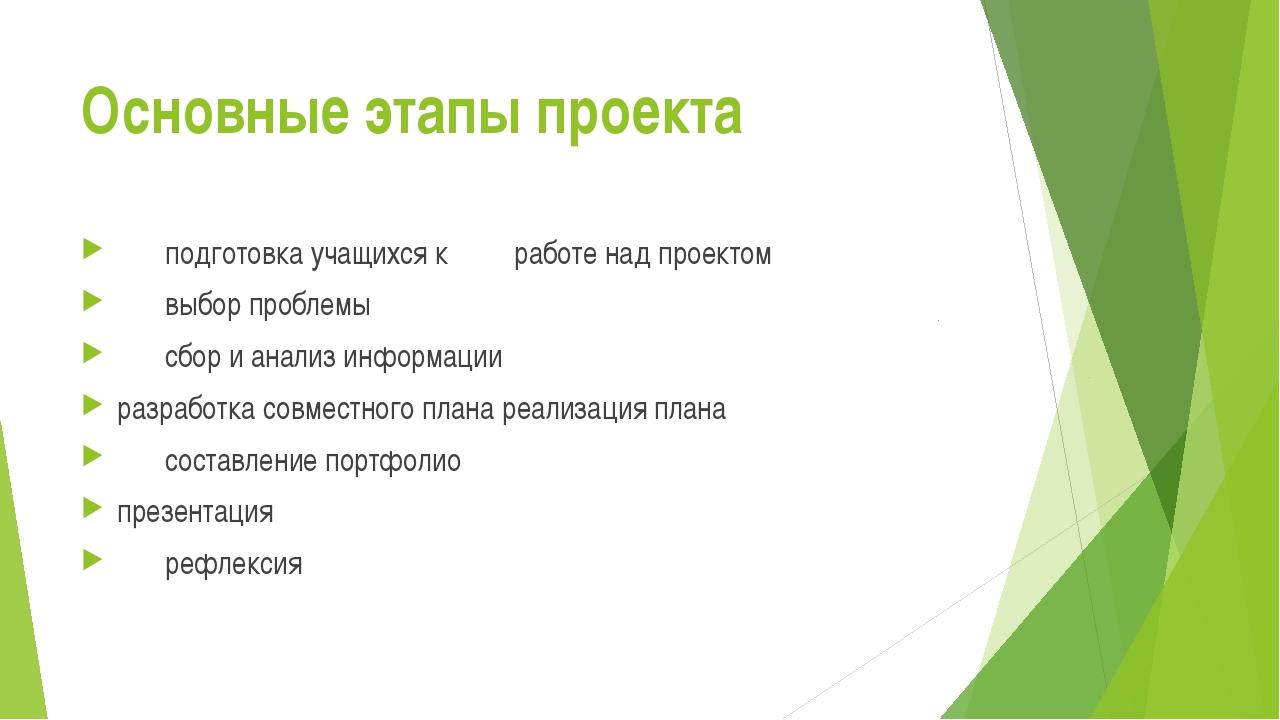 Основные этапы проекта подготовка учащихся к работе над проектом выбор проб...