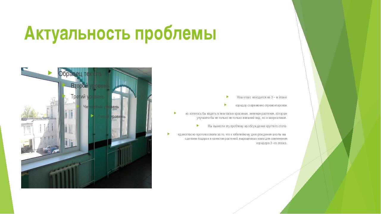 Актуальность проблемы Наш класс находится на 3 – м этаже коридор современно о...