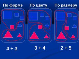 По форме По цвету По размеру 4 + 3 3 + 4 2 + 5