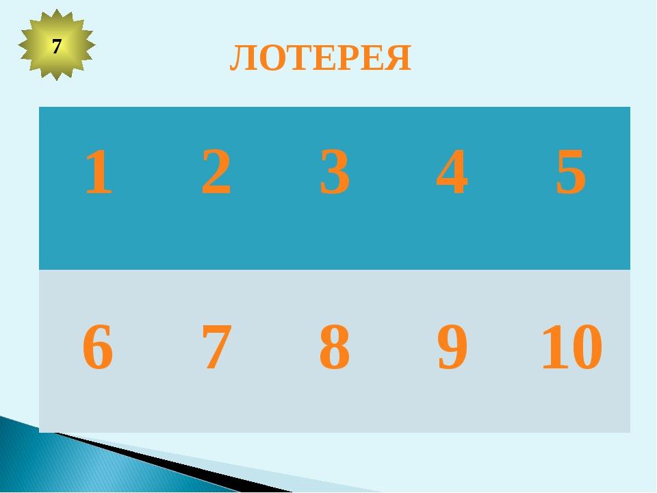 ЛОТЕРЕЯ 7 1 2 3 4 5 6 7 8 9 10
