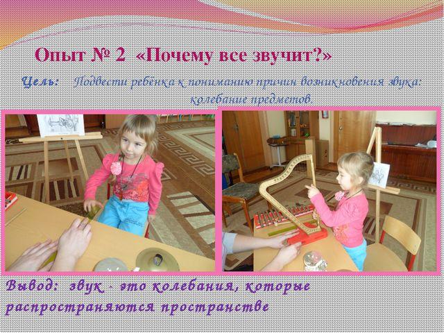 Опыт № 2 «Почему все звучит?» Цель: Подвести ребёнка к пониманию причин возни...