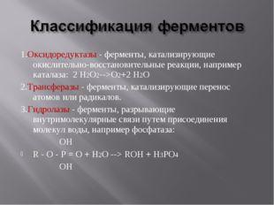 1.Оксидоредуктазы - ферменты, катализирующие окислительно-восстановительные р