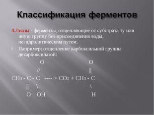 4.Лиазы - ферменты, отщепляющие от субстрата ту или иную группу без присоедин
