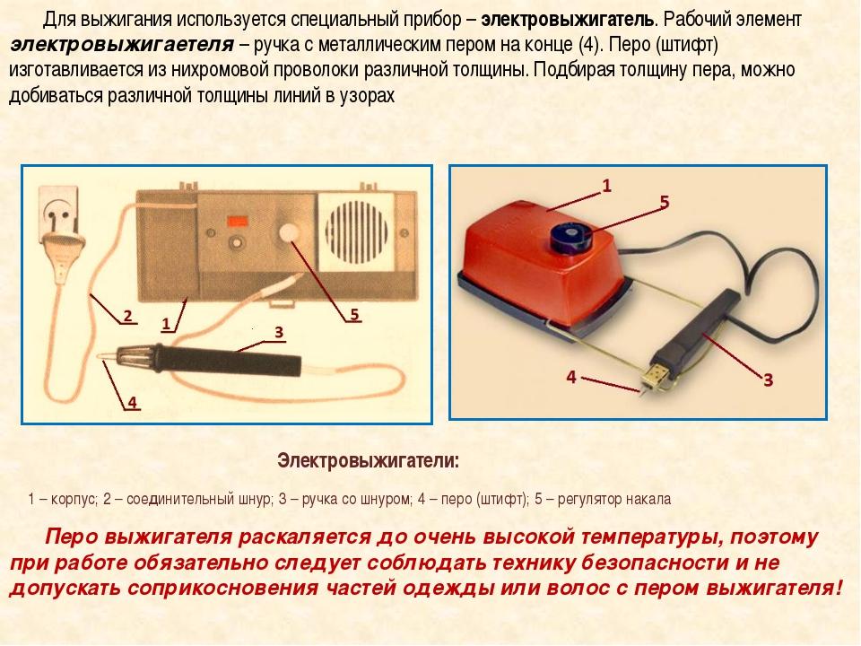 Для выжигания используется специальный прибор –электровыжигатель. Рабочий э...