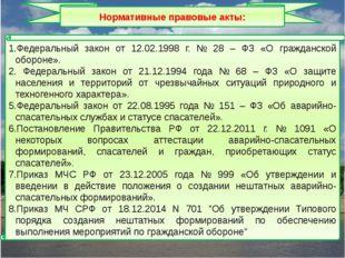 Федеральный закон от 12.02.1998 г. № 28 – ФЗ «О гражданской обороне». Федерал