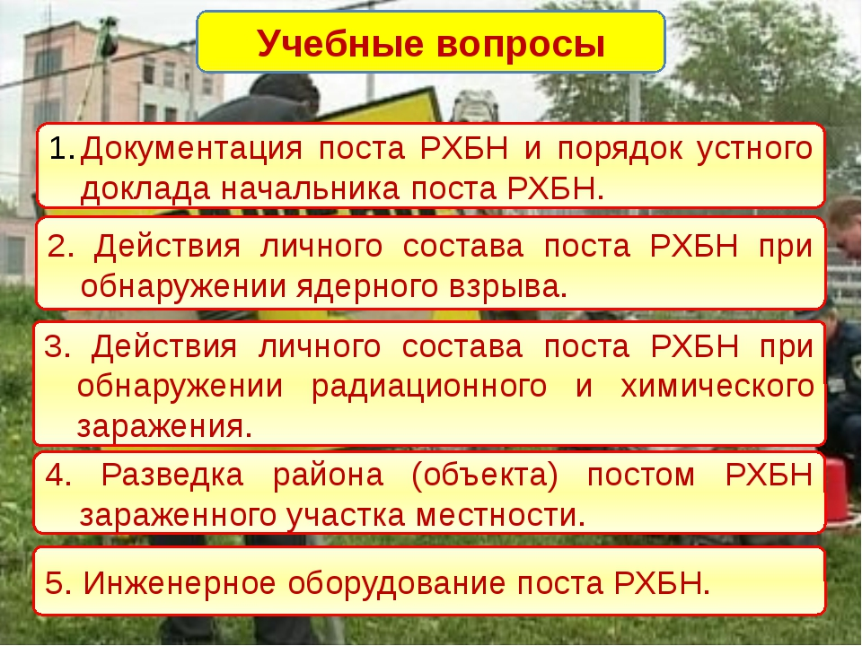 Учебные вопросы Документация поста РХБН и порядок устного доклада начальника...