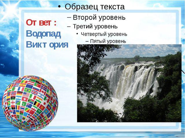 Ответ: Водопад Виктория