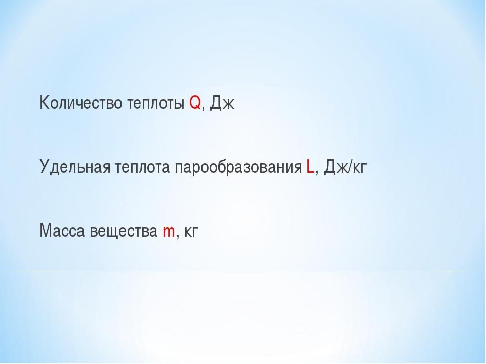 Количество теплоты Q, Дж Удельная теплота парообразования L, Дж/кг Масса ве...