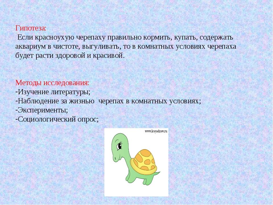 Гипотеза: Если красноухую черепаху правильно кормить, купать, содержать аквар...