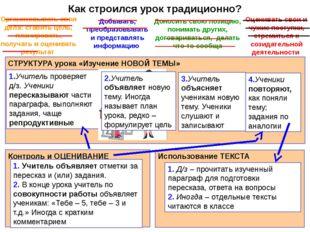 Как строился урок традиционно? СТРУКТУРА урока «Изучение НОВОЙ ТЕМЫ» 1.Учител