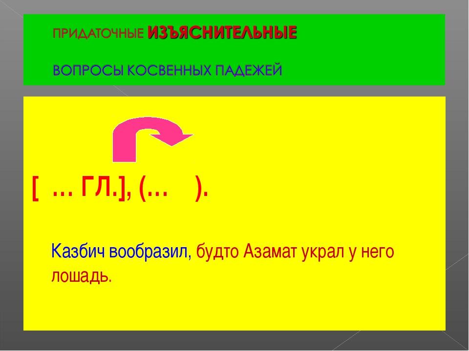 [ … ГЛ.], (… ). Казбич вообразил, будто Азамат украл у него лошадь.