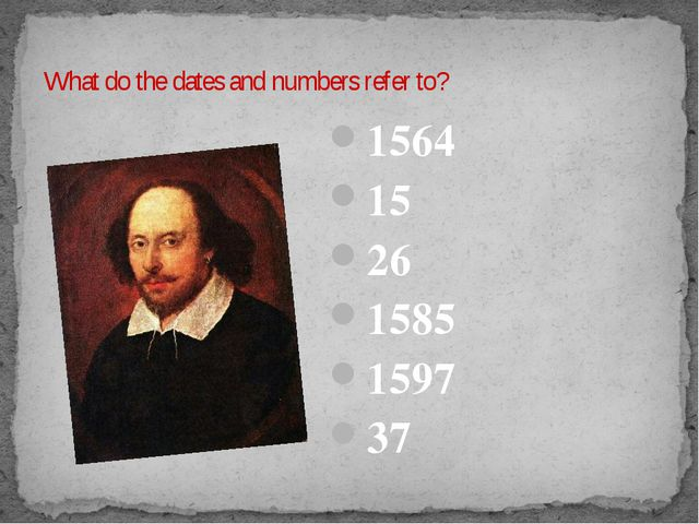 What do the dates and numbers refer to? 1564 15 26 1585 1597 37