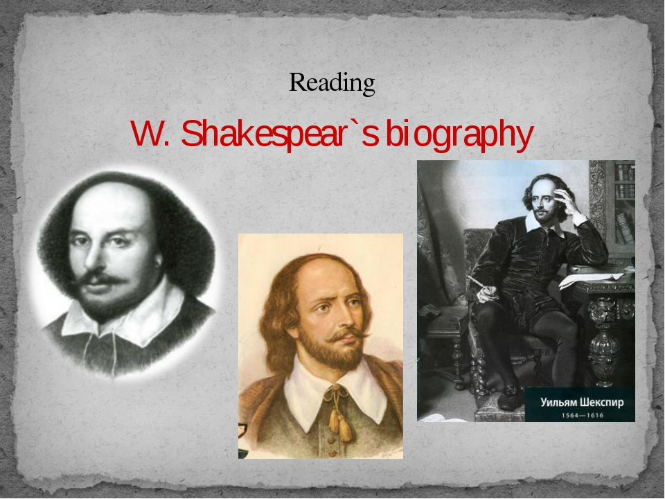 Reading W. Shakespear`s biography