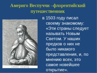 Америго Веспуччи –флорентийский путешественник в 1503 году писал своему знако