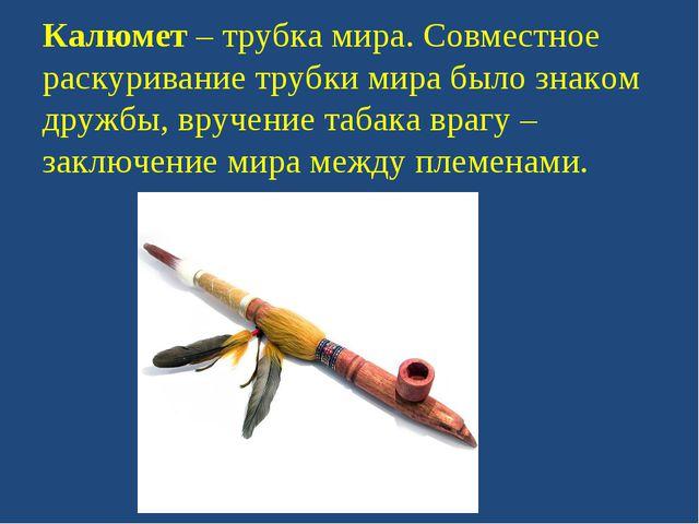 Калюмет – трубка мира. Совместное раскуривание трубки мира было знаком дружбы...
